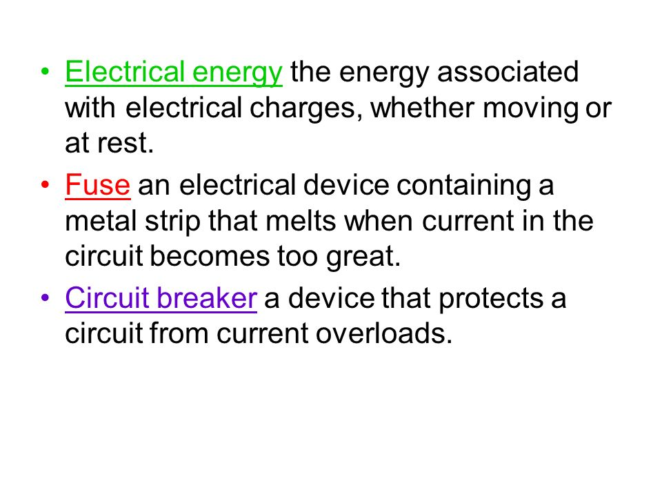 Electrical energy the energy associated with electrical charges, whether moving or at rest.