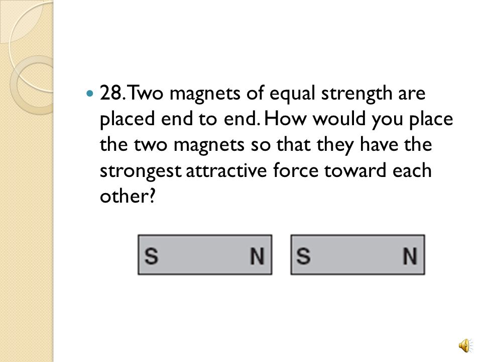 28. Two magnets of equal strength are placed end to end