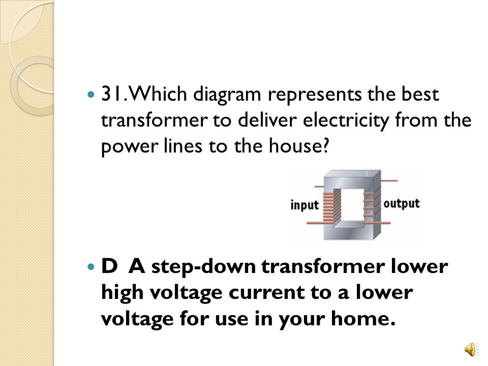 31. Which diagram represents the best transformer to deliver electricity from the power lines to the house