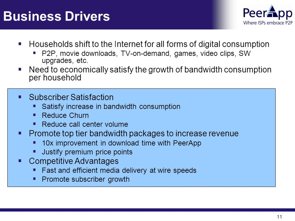 Business Drivers Households shift to the Internet for all forms of digital consumption.
