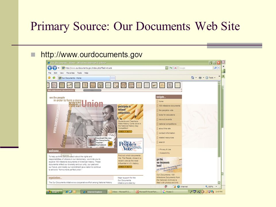 Primary Source: Our Documents Web Site