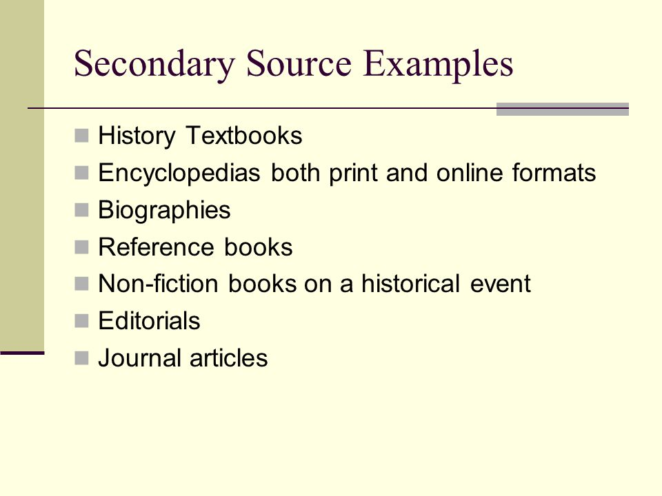 Secondary Source Examples