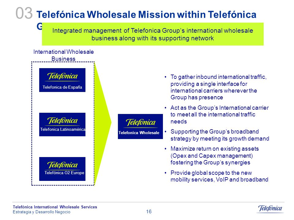 03 Telefónica Wholesale Mission within Telefónica Group