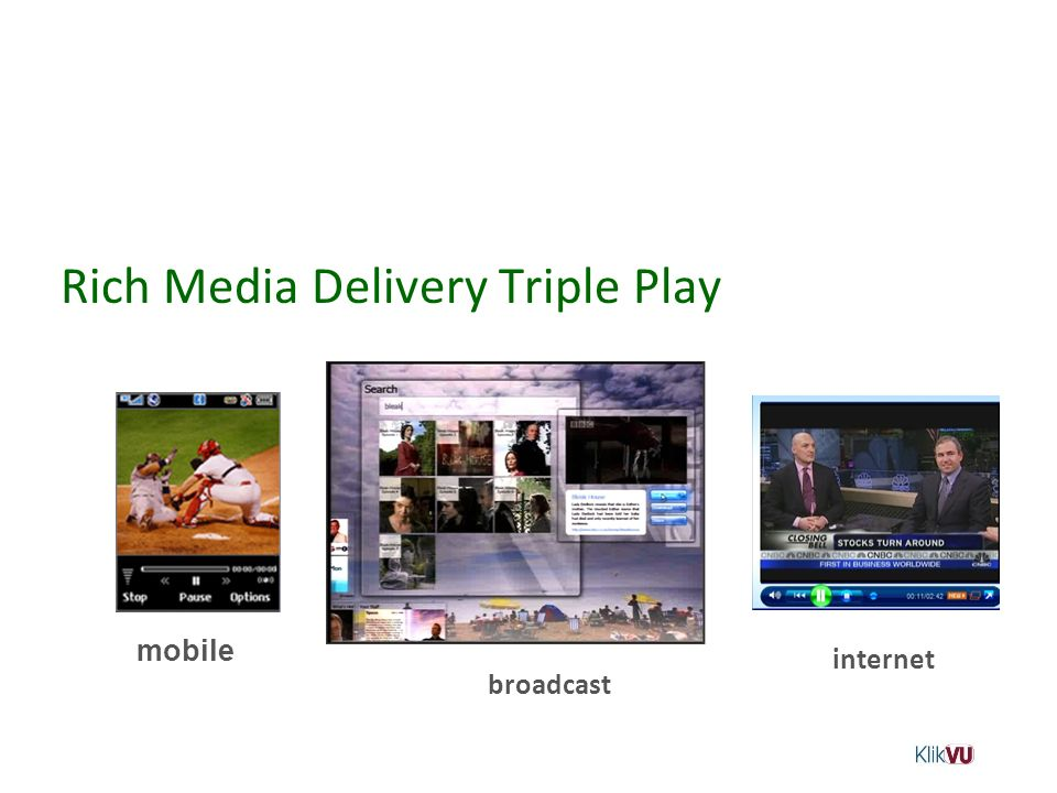Rich Media Delivery Triple Play