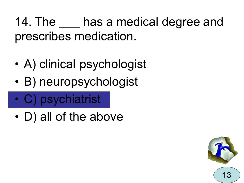 14. The ___ has a medical degree and prescribes medication.