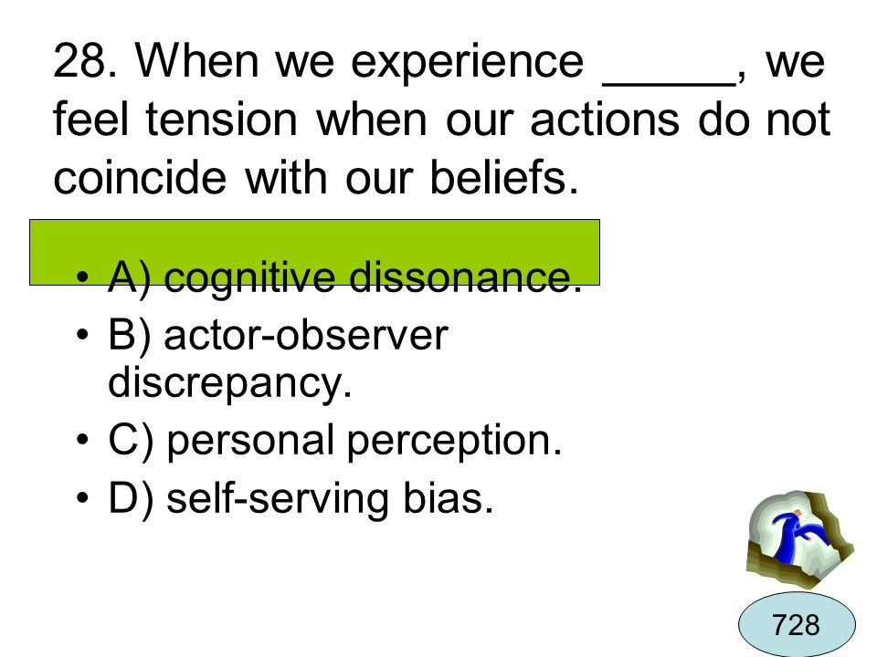 28. When we experience _____, we feel tension when our actions do not coincide with our beliefs.