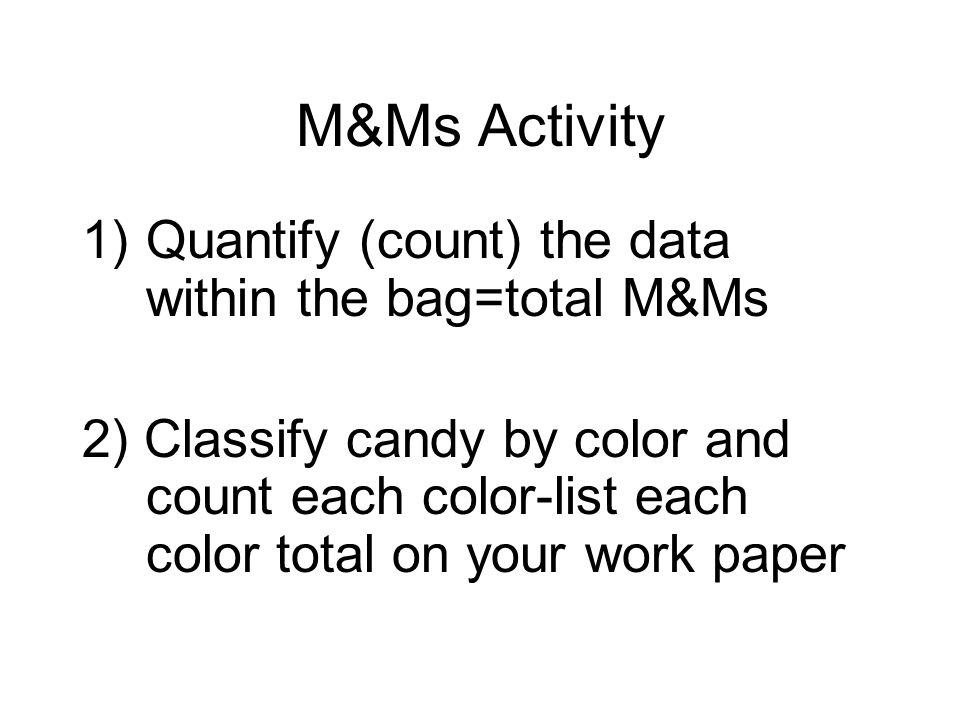 M&Ms Activity Quantify (count) the data within the bag=total M&Ms