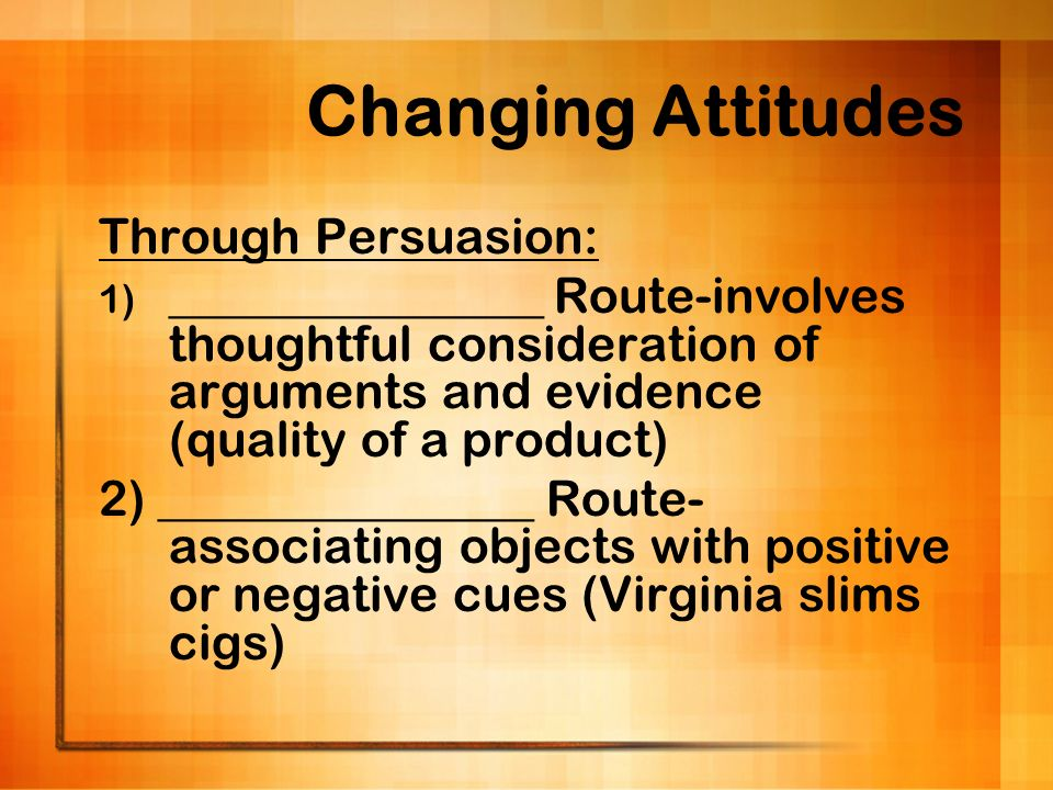 Changing Attitudes Through Persuasion: