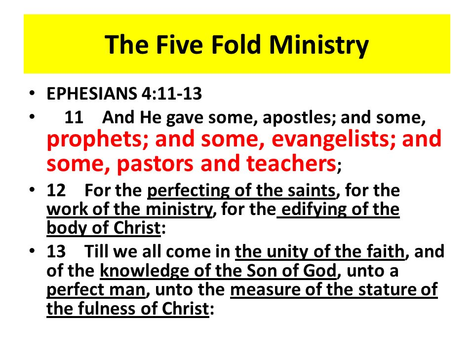 The Five Fold Ministry EPHESIANS 4:11-13