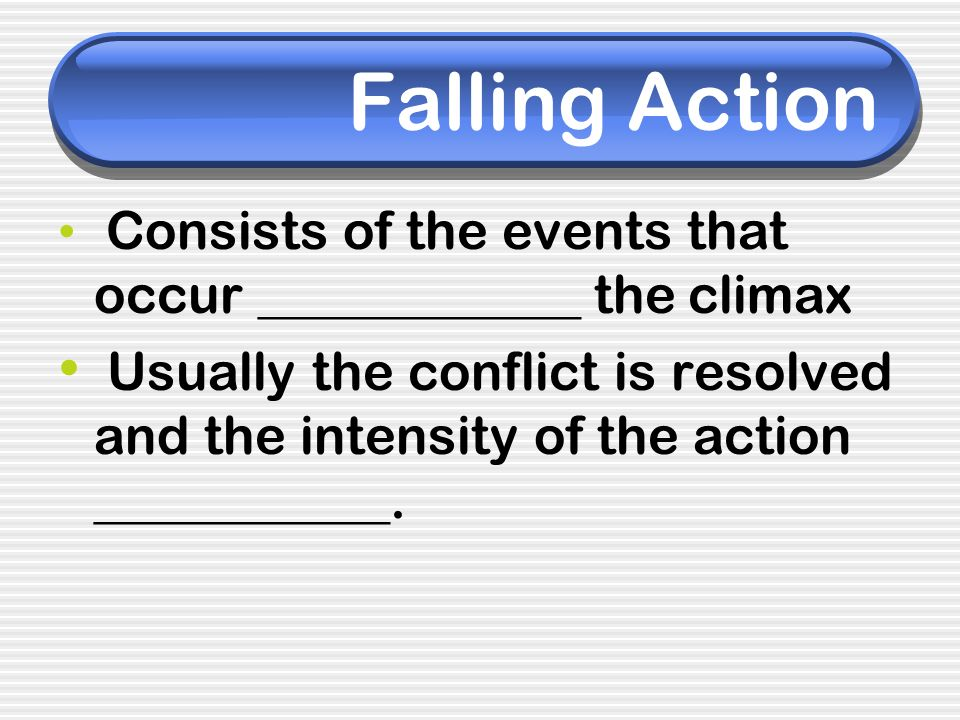 Falling Action Consists of the events that occur ____________ the climax.