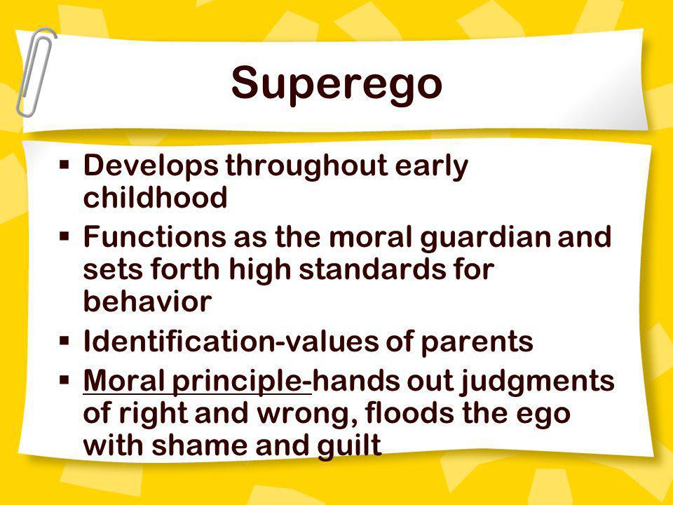 Superego Develops throughout early childhood