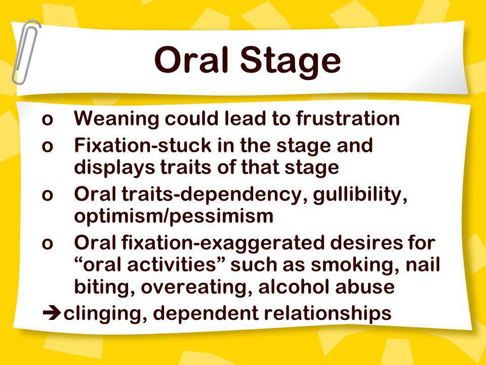Oral Stage Weaning could lead to frustration