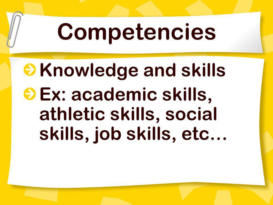 Competencies Knowledge and skills