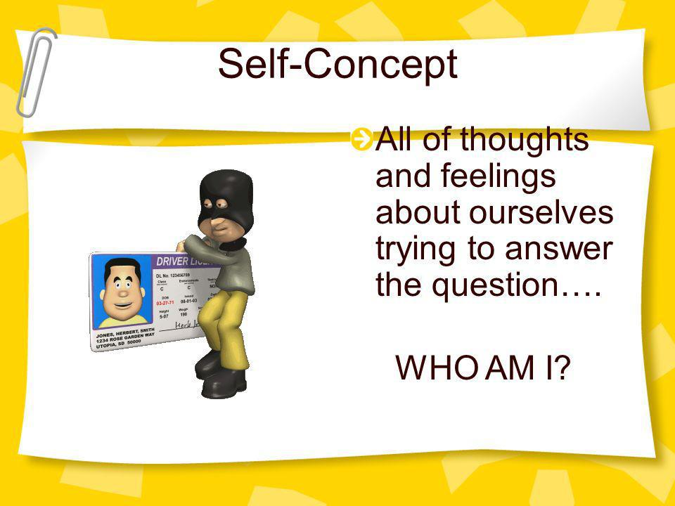 Self-Concept All of thoughts and feelings about ourselves trying to answer the question…. WHO AM I