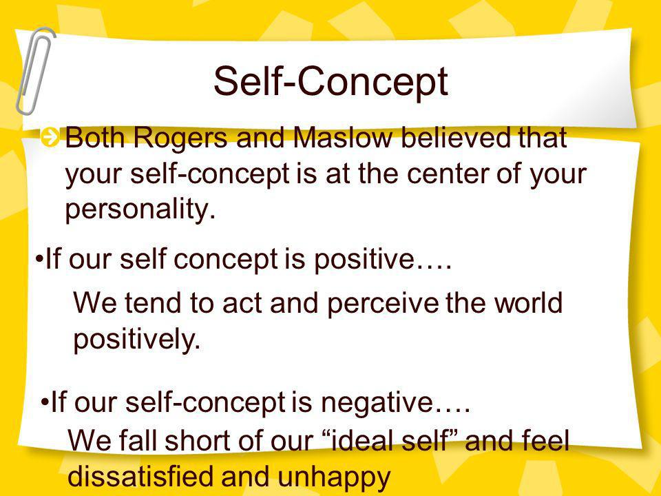 Self-Concept Both Rogers and Maslow believed that your self-concept is at the center of your personality.