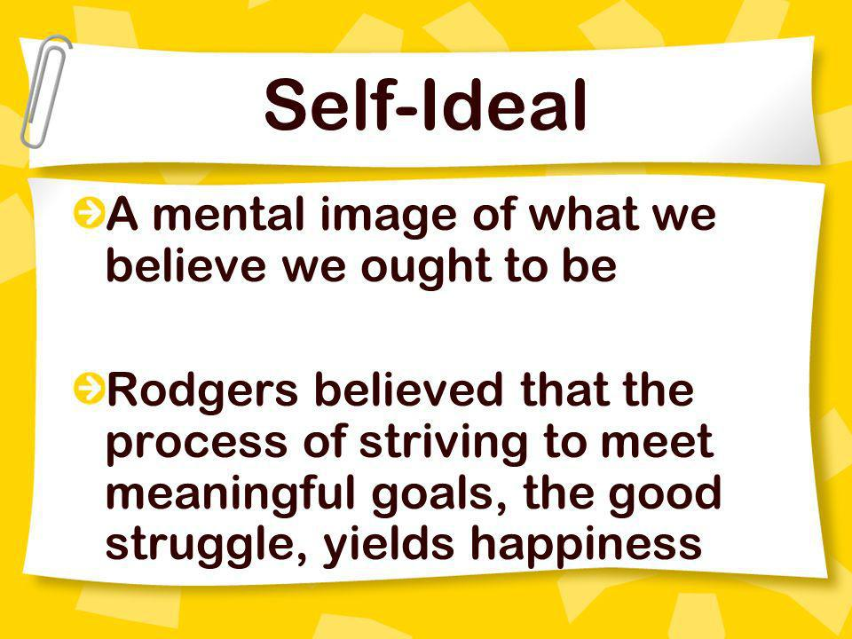 Self-Ideal A mental image of what we believe we ought to be