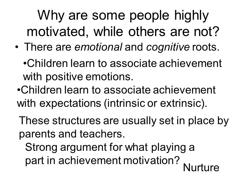 Why are some people highly motivated, while others are not