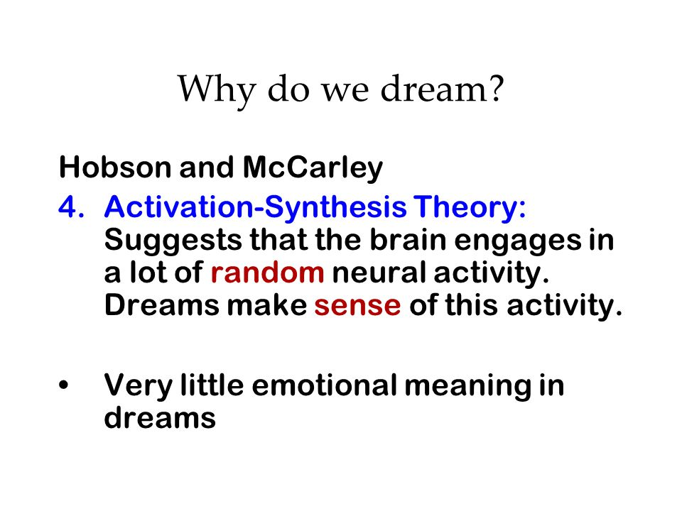 Why do we dream Hobson and McCarley