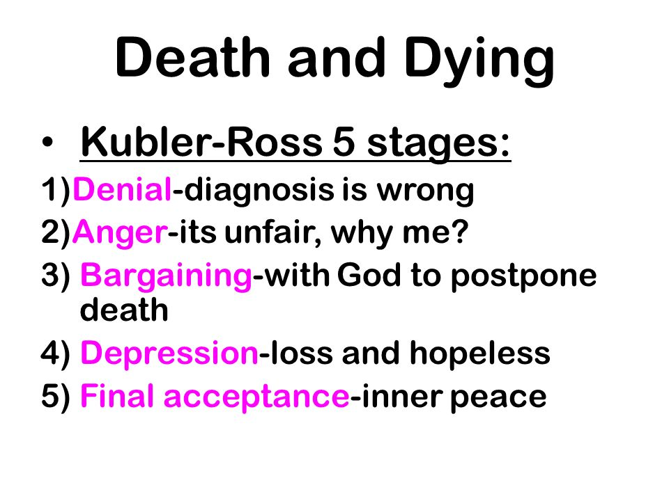 Death and Dying Kubler-Ross 5 stages: 1)Denial-diagnosis is wrong