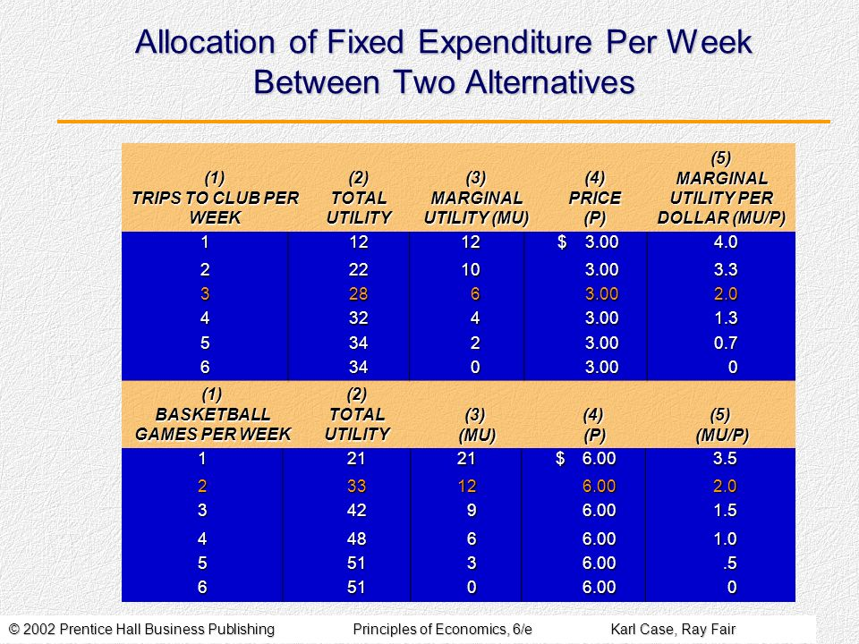 Allocation of Fixed Expenditure Per Week Between Two Alternatives