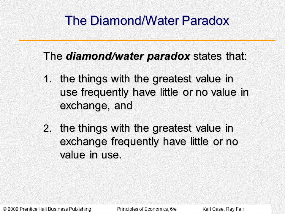 The Diamond/Water Paradox