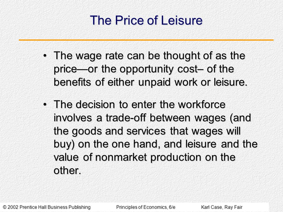 The Price of Leisure The wage rate can be thought of as the price—or the opportunity cost– of the benefits of either unpaid work or leisure.