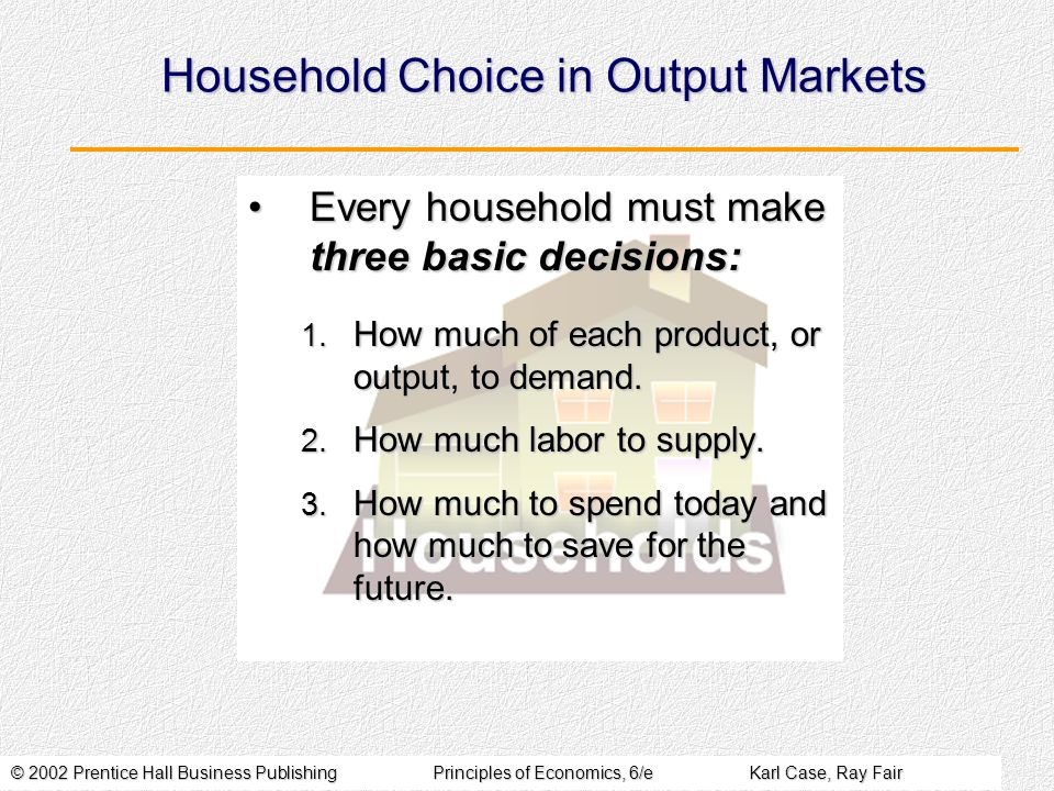 Household Choice in Output Markets