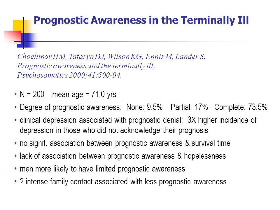 Prognostic Awareness in the Terminally Ill