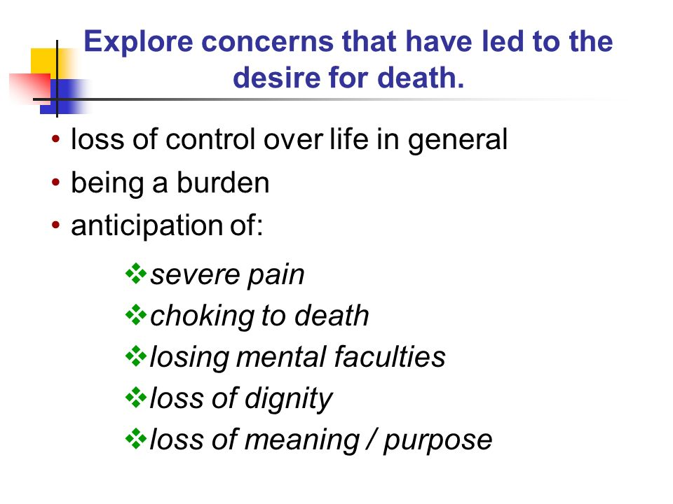 Explore concerns that have led to the desire for death.