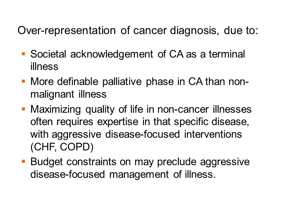 Over-representation of cancer diagnosis, due to: