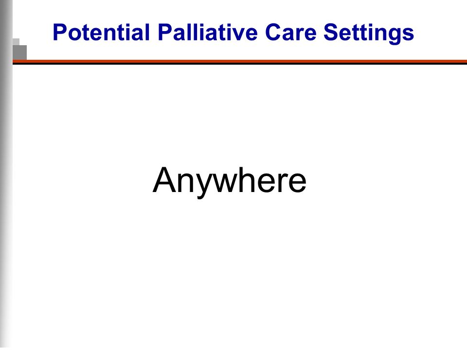 Potential Palliative Care Settings