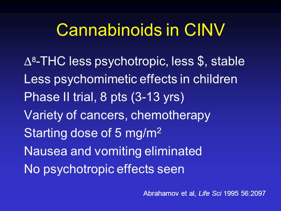 Cannabinoids in CINV 8-THC less psychotropic, less $, stable