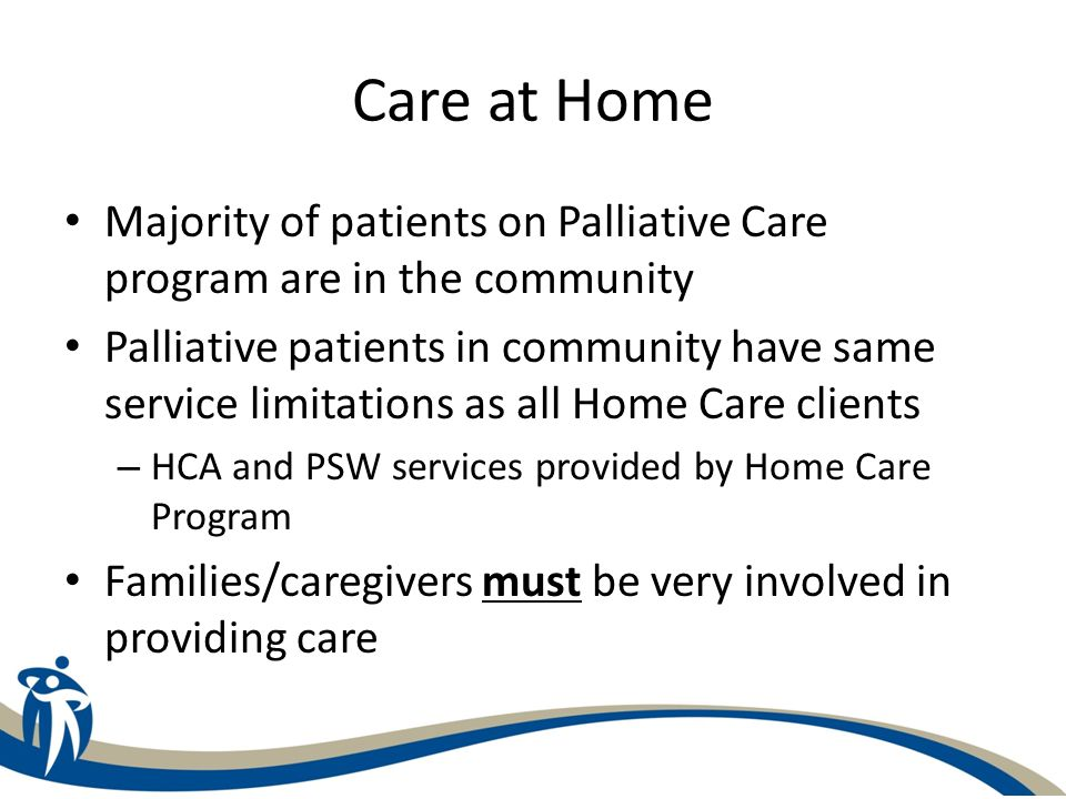 Care at Home Majority of patients on Palliative Care program are in the community.