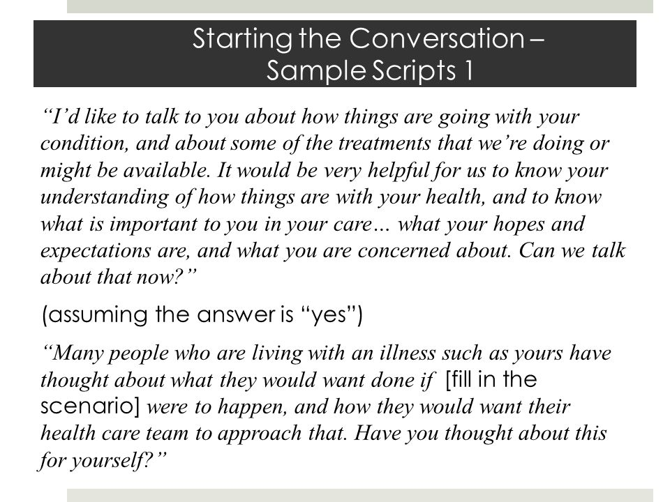 Starting the Conversation – Sample Scripts 1