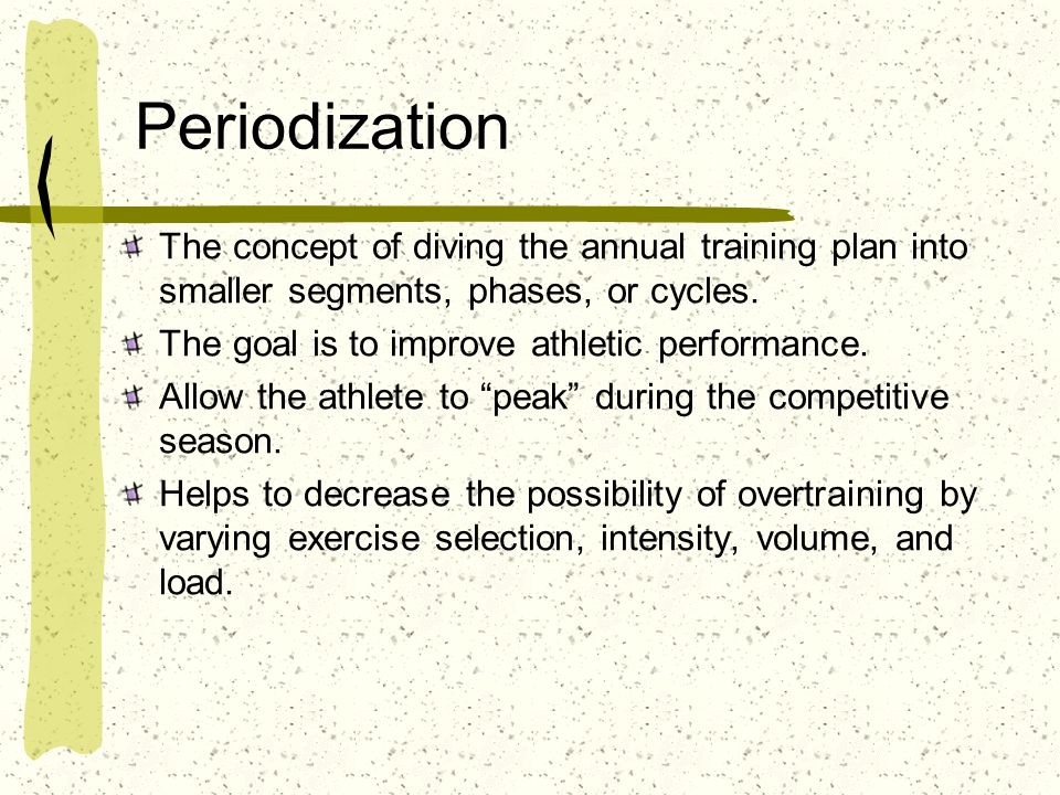 Periodization The concept of diving the annual training plan into smaller segments, phases, or cycles.