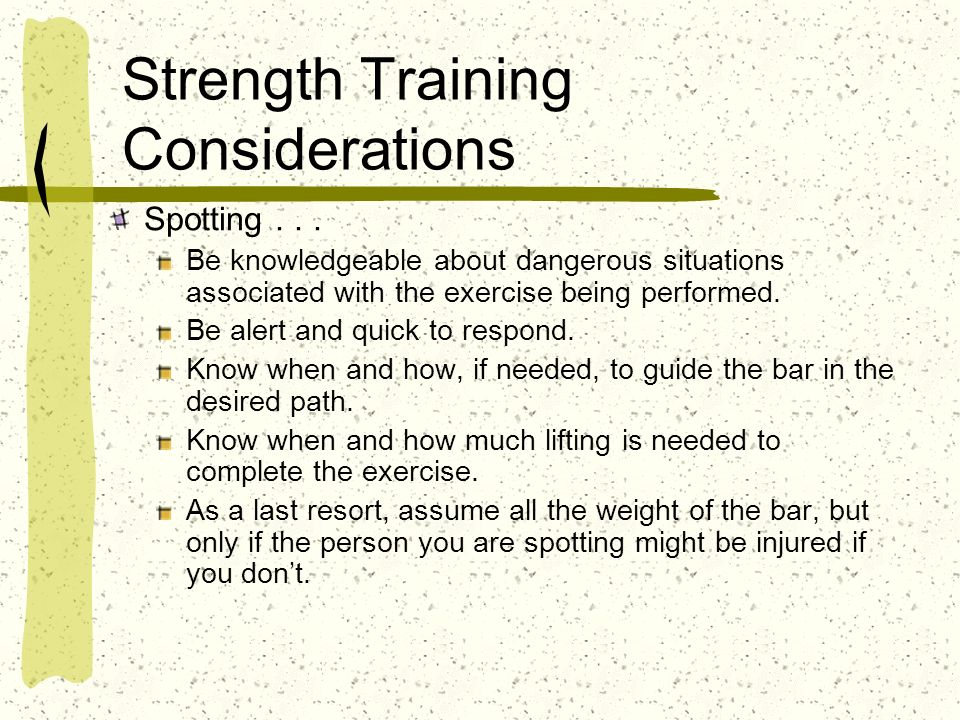 Strength Training Considerations