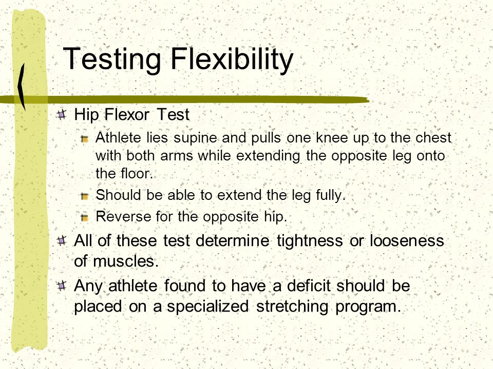 Testing Flexibility Hip Flexor Test