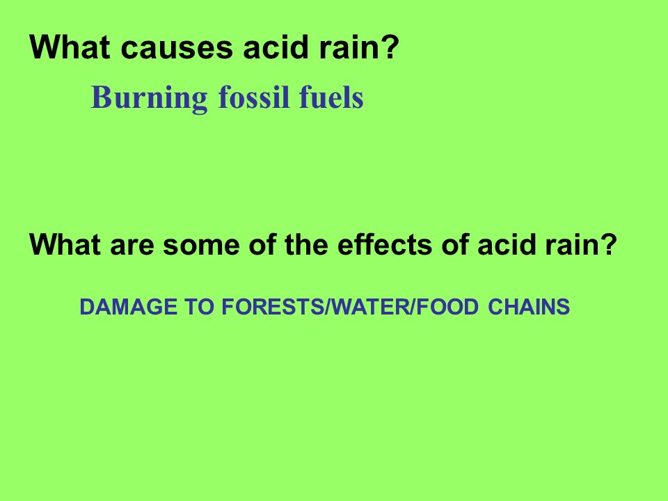 What causes acid rain Burning fossil fuels