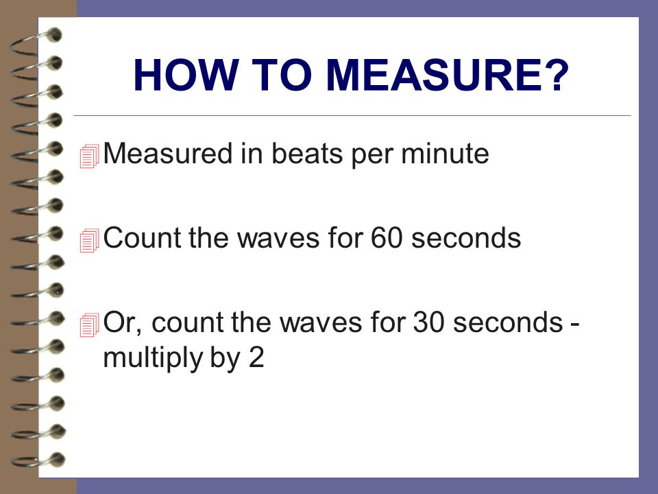 HOW TO MEASURE Measured in beats per minute