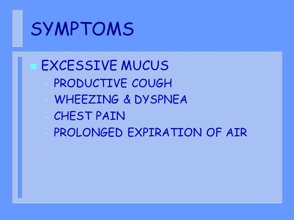 SYMPTOMS EXCESSIVE MUCUS PRODUCTIVE COUGH WHEEZING & DYSPNEA