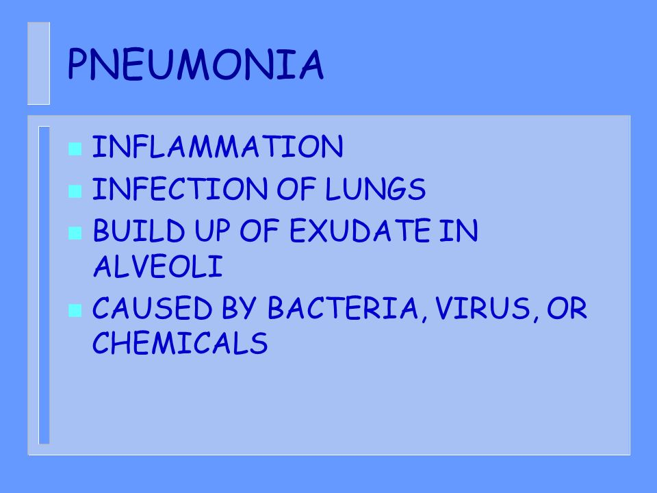 PNEUMONIA INFLAMMATION INFECTION OF LUNGS
