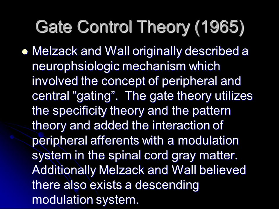 Gate Control Theory (1965)