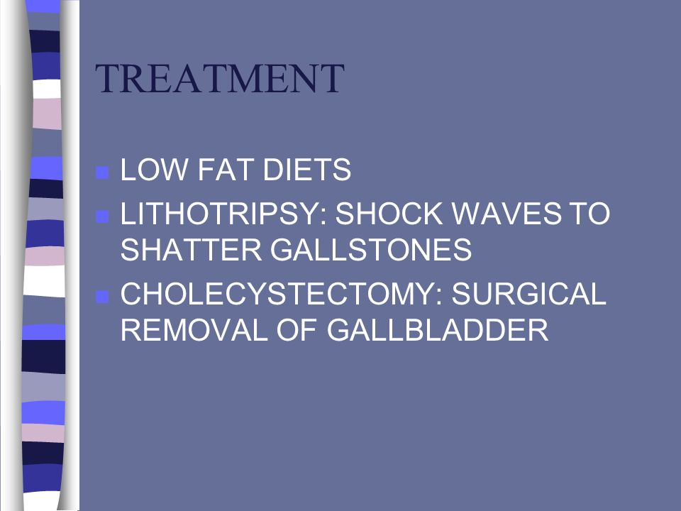 TREATMENT LOW FAT DIETS LITHOTRIPSY: SHOCK WAVES TO SHATTER GALLSTONES