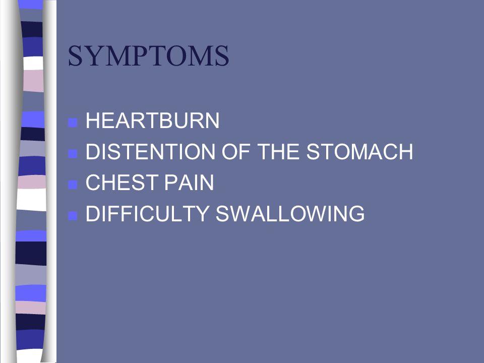 SYMPTOMS HEARTBURN DISTENTION OF THE STOMACH CHEST PAIN