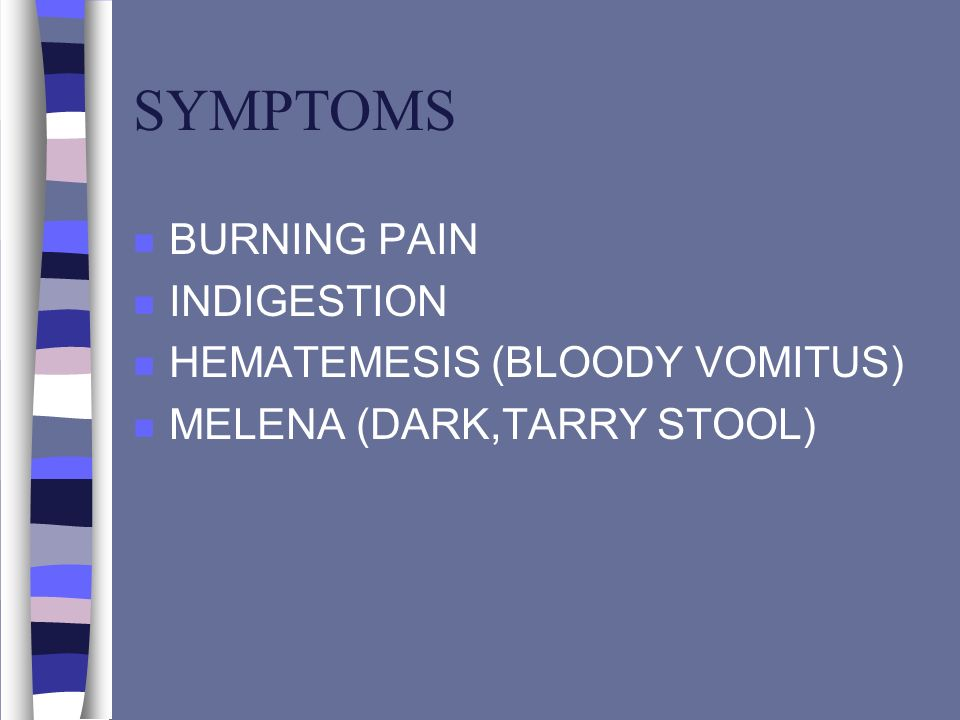SYMPTOMS BURNING PAIN INDIGESTION HEMATEMESIS (BLOODY VOMITUS)