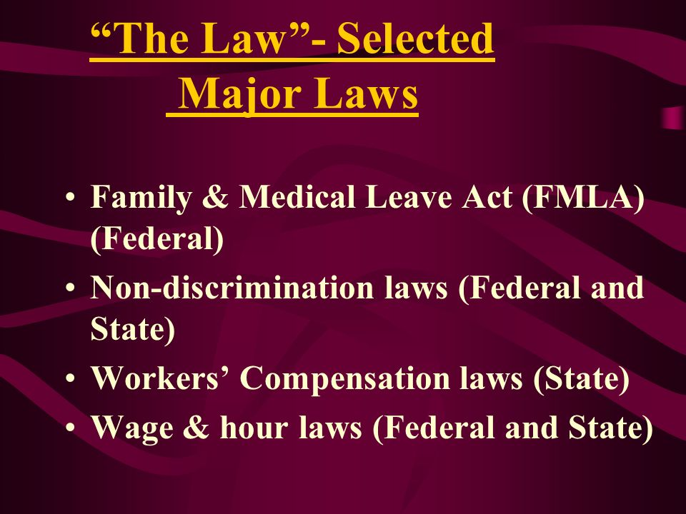 The Law - Selected Major Laws