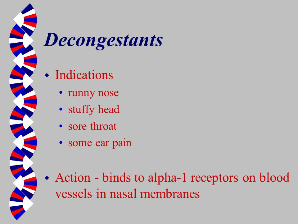 Decongestants Indications