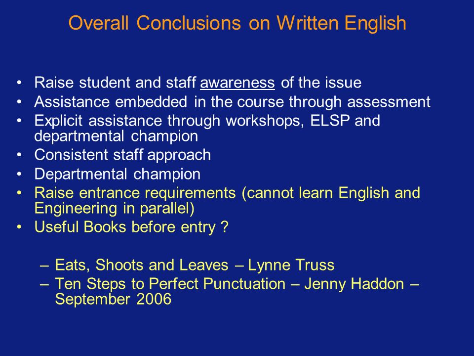 Overall Conclusions on Written English