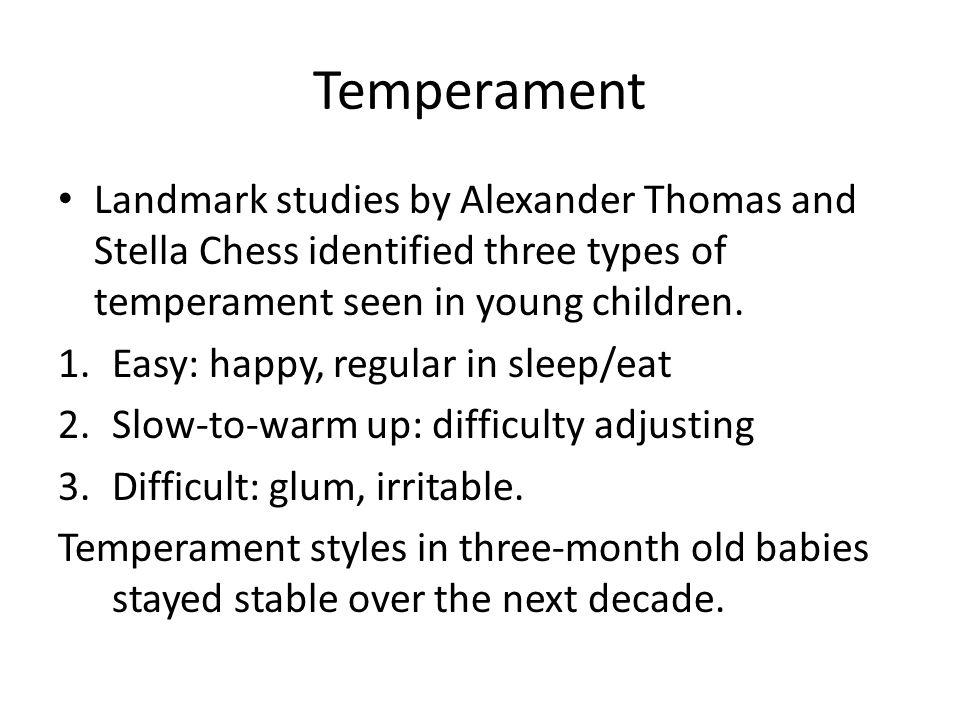 thomas and chesss classic temperamental categories