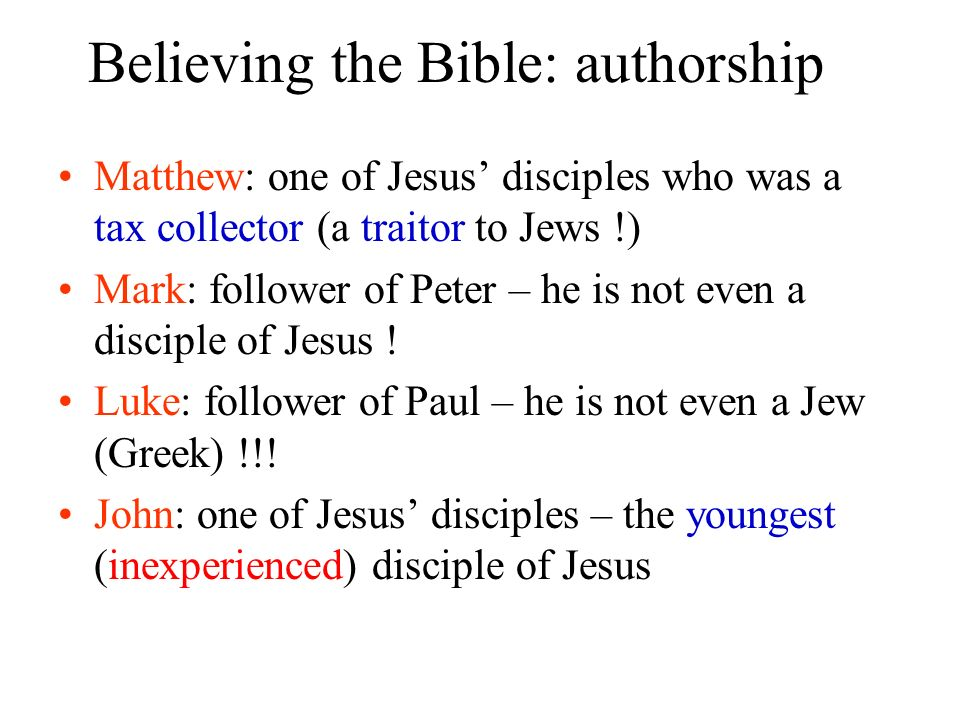 Believing the Bible: authorship
